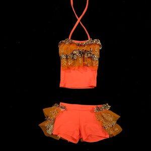 Neon Orange Dance Costume | Size 6 | starz on stage